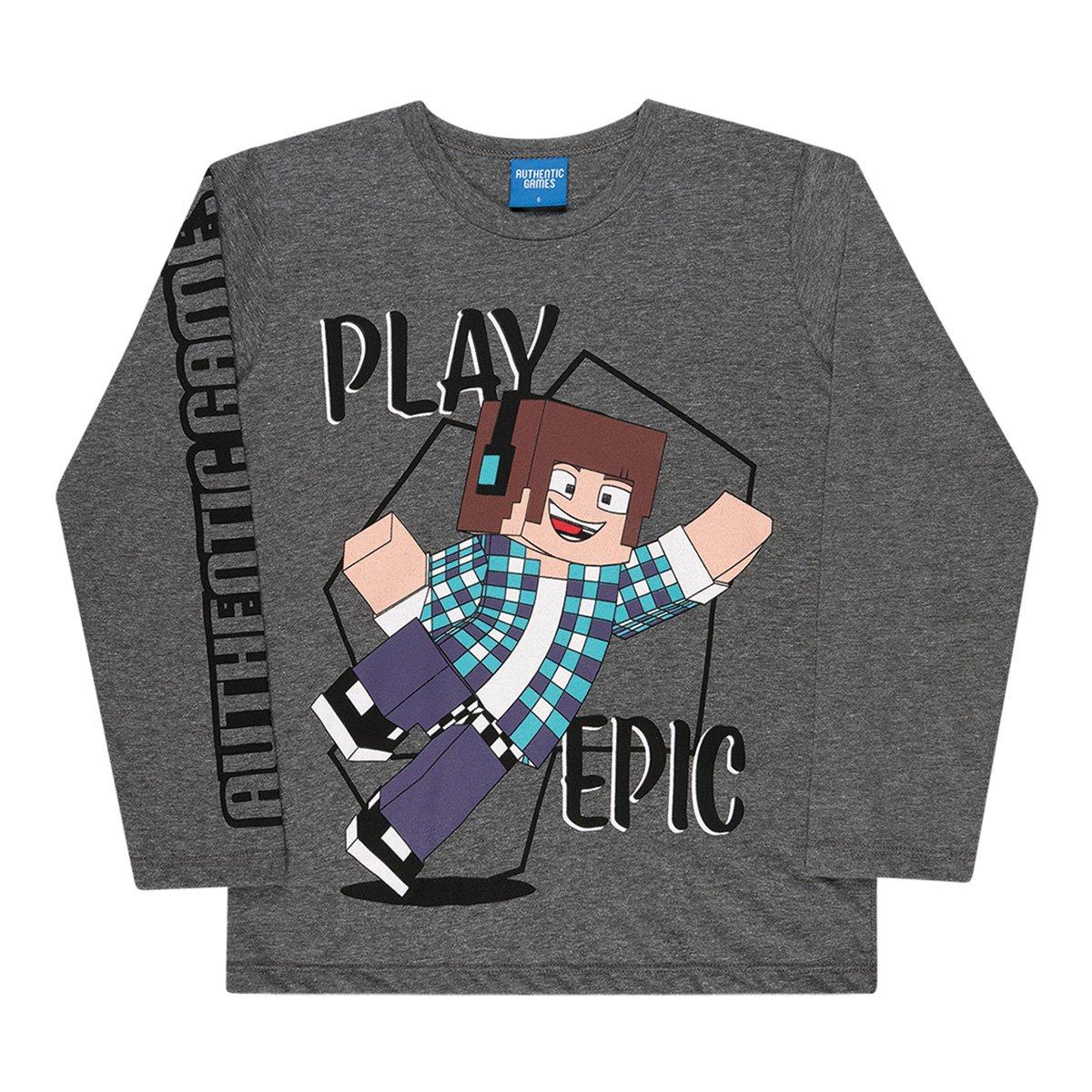 Camiseta Infantil Kamylus Authentic Games Manga Longa Masculina