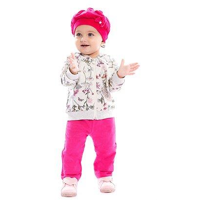 Conjunto Longo Bebê Brandili Moletinho Floral Feminino