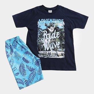 7be253eb26 Conjunto De Camiseta + Bermuda Infantil Fakini Tropical Masculino