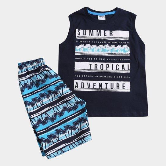Conjunto Infantil Fakini Kids Summer Tropical Adventure Masculino -  Marinho+Azul c5873e8c6b913