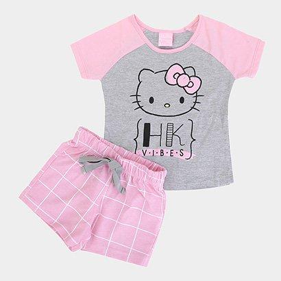 Pijama Infantil Hello Kitty Blusa e Short Meia Malha