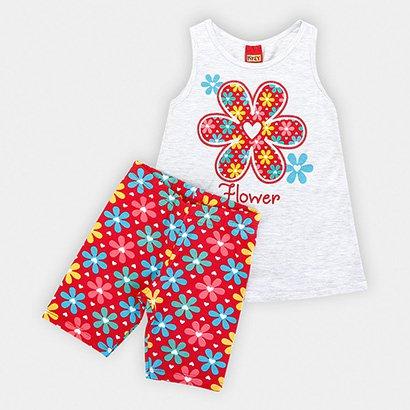 Conjunto Infantil Kyly Blusa Shorts Cotton Flores