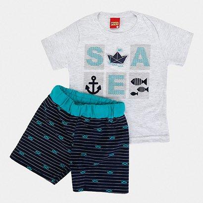 Conjunto Infantil Kyly Camiseta Bermuda Sea Masculina