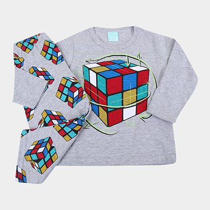 Pijama Longo Infantil Kyly Meia Malha Cubo Mágico