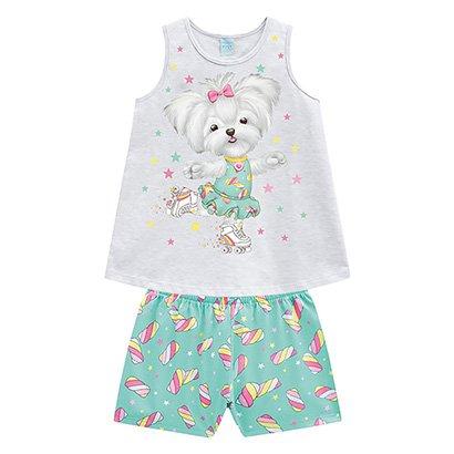 Pijama Infantil Kyly Patins Brilha no Escuro Feminino