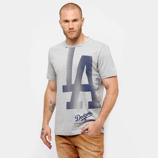 b818429512431 Camiseta New Era MLB Retícula Los Angeles Dodgers - Mescla - Compre ...