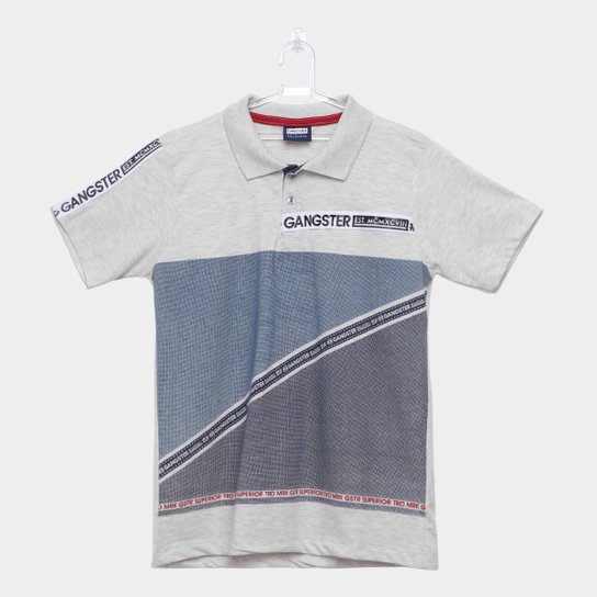 dfab75f933 Camiseta Polo Infantil Estampada Gangster Masculina - Cinza Claro ...