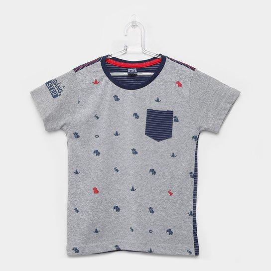 faebeab8ea Camiseta Infantil Gangster Manga Curta Masculina - Mescla