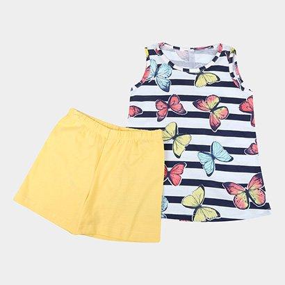 Pijama Infantil Liberta Curto Borboletas Feminino