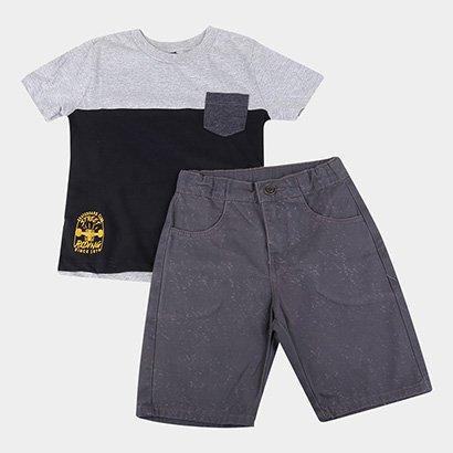 Conjunto Infantil Cativa Camiseta E Bermuda Sarja Masculino