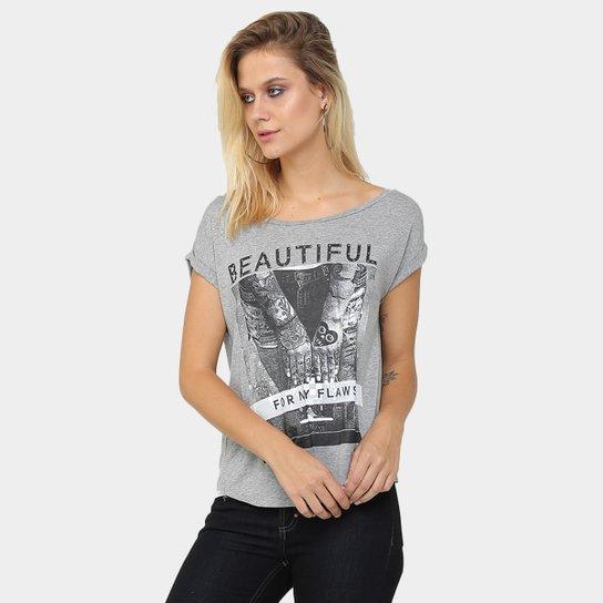 75554b24fe Camiseta Kira Estampada Strass - Mescla - Compre Agora