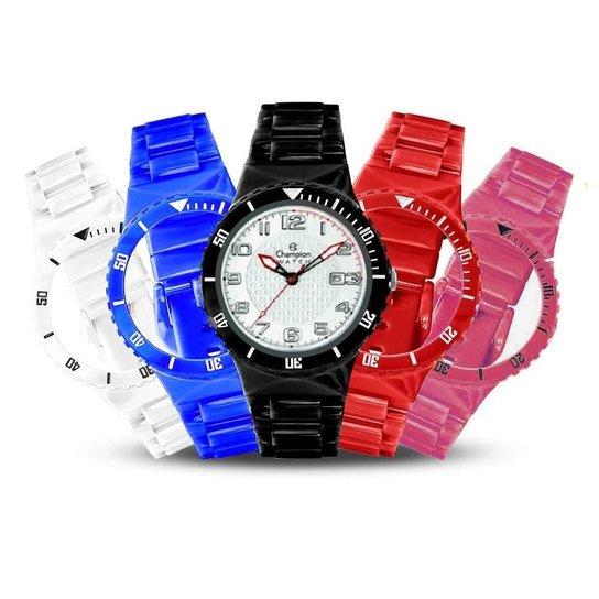 55a54eb70 Relógio Unissex Champion Analógico Cp30119x Troca Pulseira Kit - Colorido
