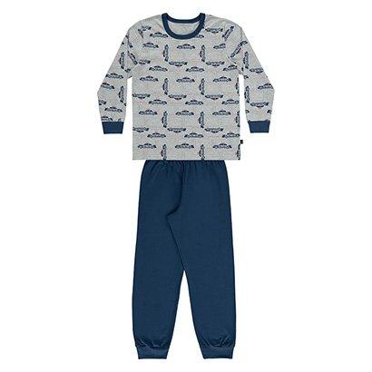 Pijama Bebê Longo Boca Grande Estampa Carrinho Masculino