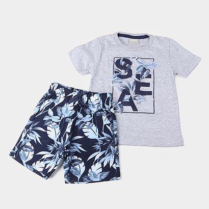 Conjunto Infantil Milon Camiseta Sea e Bermuda Moletom Folhagens Masculino
