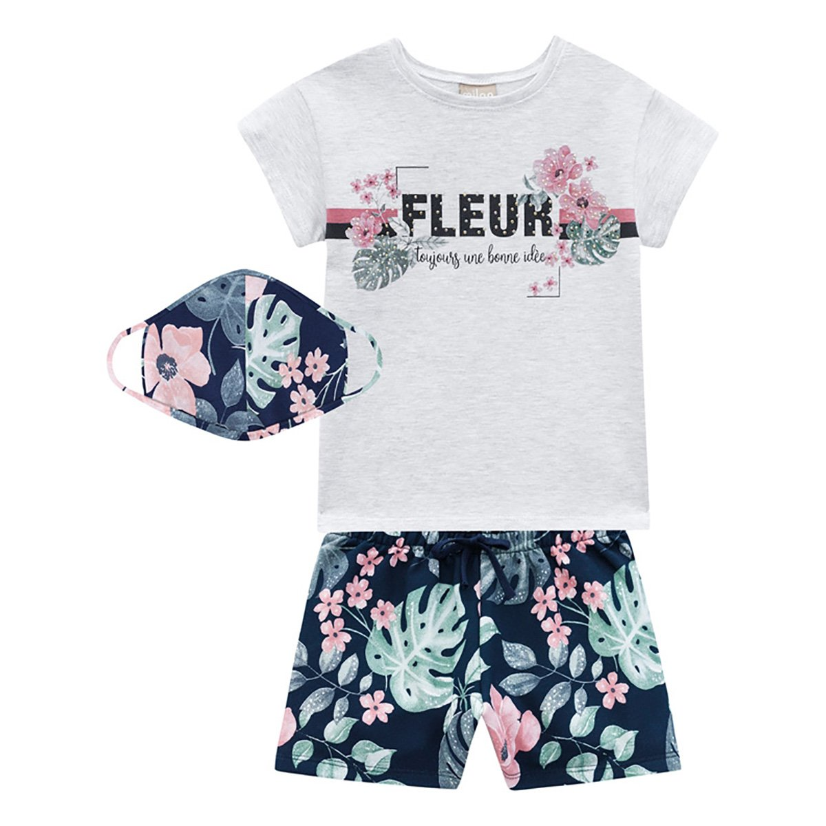 Conjunto Infantil Milon Camiseta E Shorts+ Máscara Facial Floral Feminino