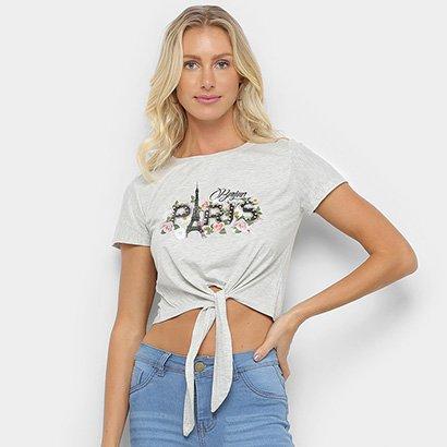 Camiseta Sofia Fashion Cropped Paris Nó Feminina