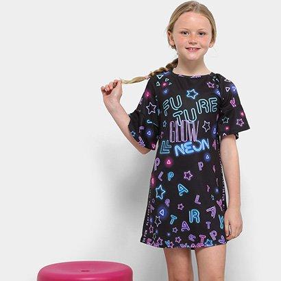 Vestido Infantil Dimy Candy Manga Babado
