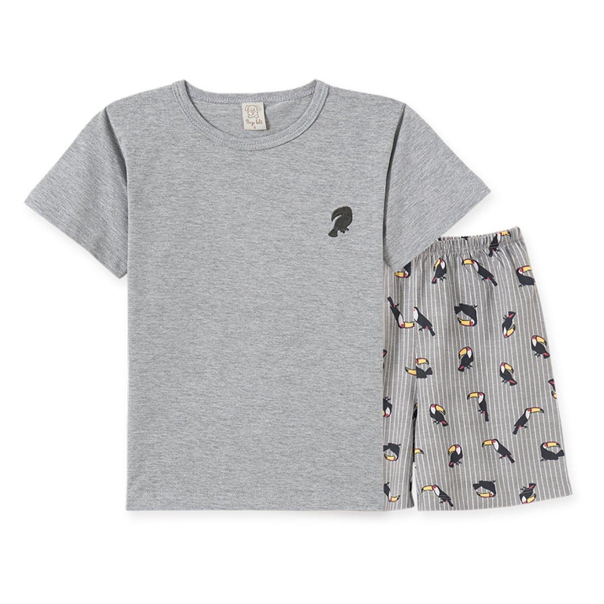 Pijama Infantil Pingo Lelê Camiseta Tucano + Bermuda Masculino