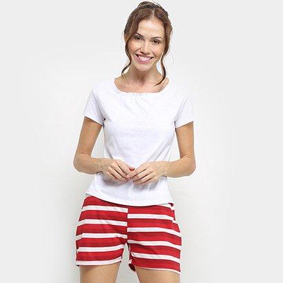 Conjunto Pijama Flora Zuu Listrado Feminino