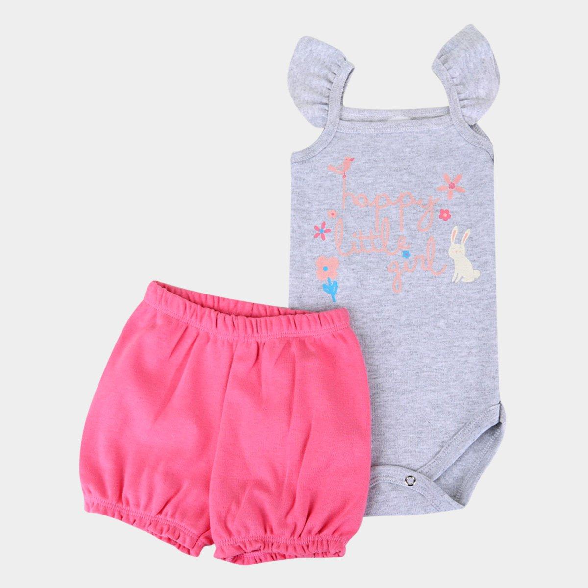 Conjunto Bebê Candy Kids Body E Shorts Suedine Happy Little Girl Feminino