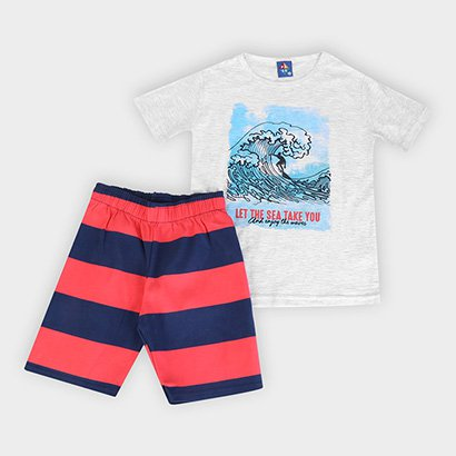Conjunto Infantil Pipa Meia Malha Let The Sea Take You Masculino