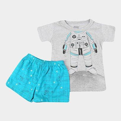 Pijama Infantil Elian Curto Robô Brilha No Escuro Masculino