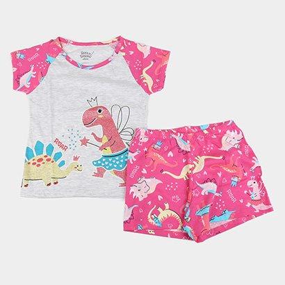 Pijama Curto Infantil Elian Dino Princesa Brilha no Escuro Feminino