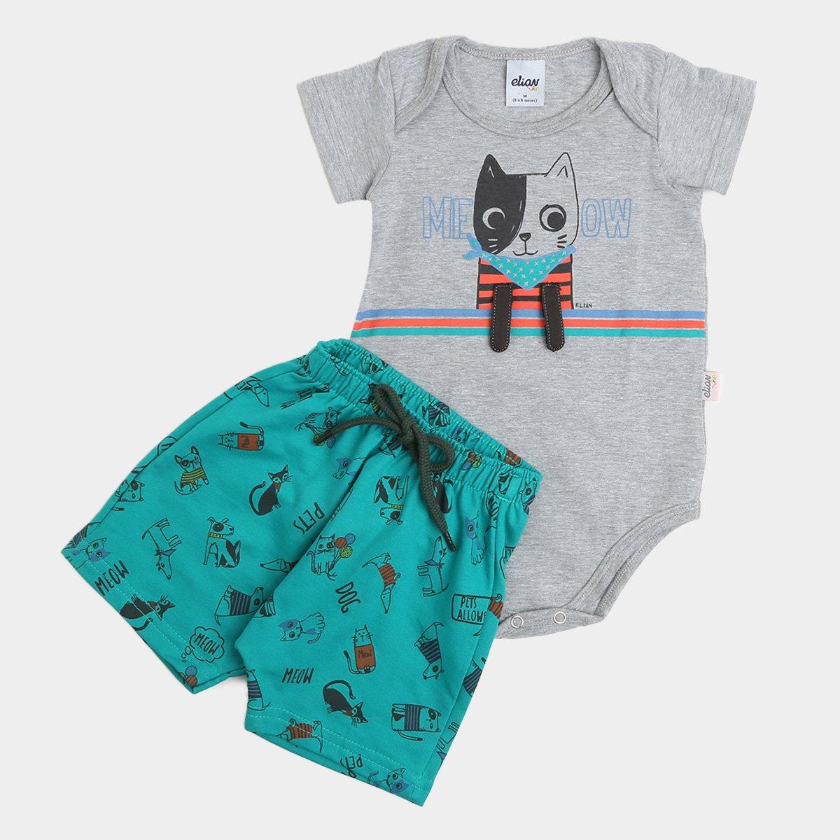Conjunto Bebê Elian Body Cotton e Bermuda Moletinho Dog Masculino