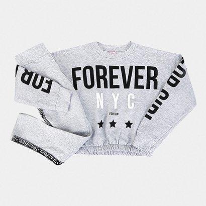 Conjunto Infantil For Girl Moletom Cropped Forever NYC Feminino