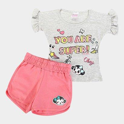 Conjunto Infantil For Girl Blusa M/M C/ Babado E Short Moletinho-3319