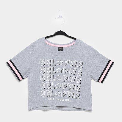 Camiseta Cropped Infantil Rovitex Girl Power Feminina