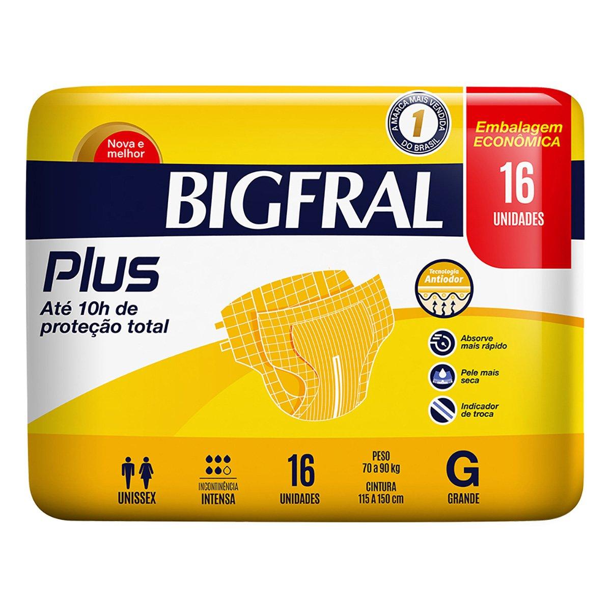 Fralda Geriátrica Bigfral Plus G 16 Unidades