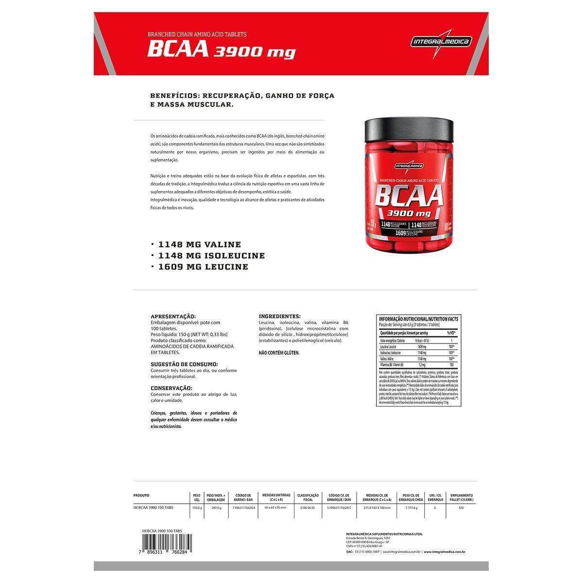 BCAA 3900 100 Tabs - IntegralMédica - 1