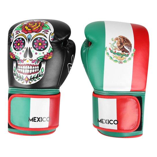 0fe166749 Luva de Boxe   Muay Thai Naja Caveira México 12 Oz - Verde+Vermelho