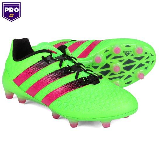 061dc9bf4806d Chuteira Adidas Ace 16.1 FG - Campo - Verde Limão+Pink