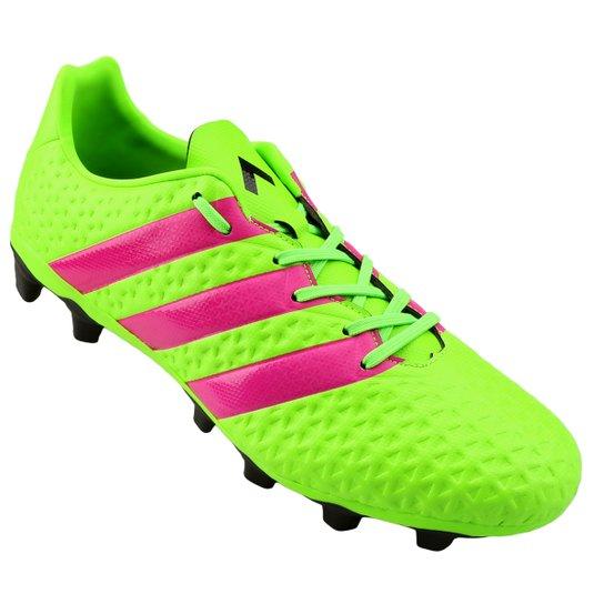 Chuteira Campo Adidas Ace 16.4 FXG Masculina - Verde Limão e Pink ... a168706a9ec5c