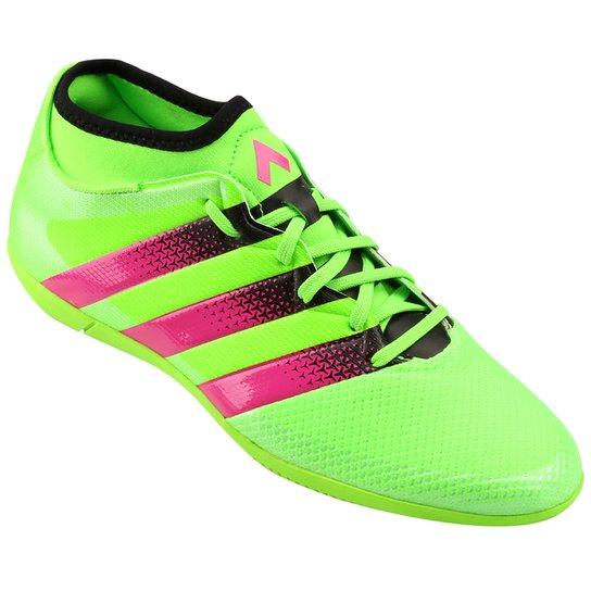 Chuteira Futsal Adidas Ace 16.3 Primemesh IN Masculina - Verde Limão+Pink 4a49e9150baa5
