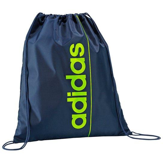 9fbb191183e1c Bolsa Adidas Gymbag Linear - Marinho+Verde Limão