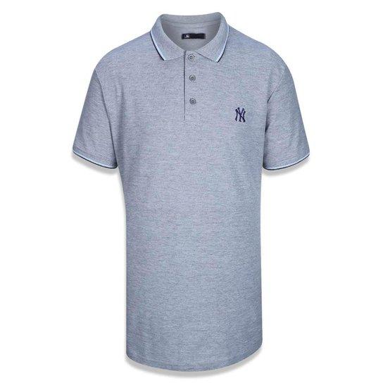 Camisa Polo New York Yankees MLB Mescla Negro New Era - Mescla Claro ... 3c577c9623b