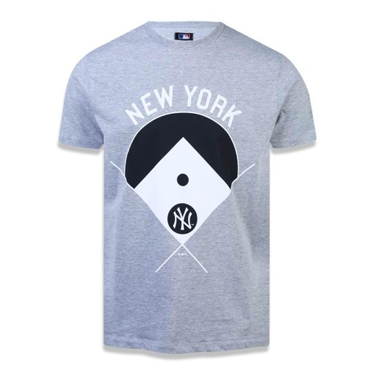 Camiseta New York Yankees MLB New Era Masculina - Mescla Claro ... 85858df2b0f83