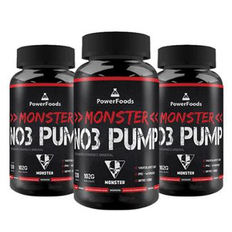 Combo 3x Monster NO3 Pump - 3x120 cápsulas - PowerFoods