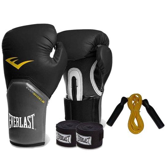 280262c59 Kit Boxe Everlast - Luva Preta 12Oz + Bandagem + Corda -