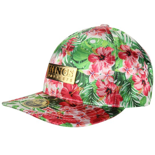 25d94979a6 Boné Kings Sneakers Prm Board Flowers - Verde+Vermelho