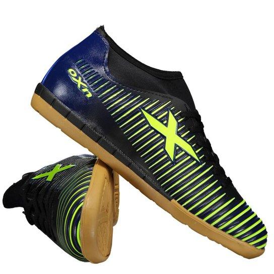 42e89daf32 Chuteira Oxn Velox Neo Futsal Masculina - Marinho+Verde Limão
