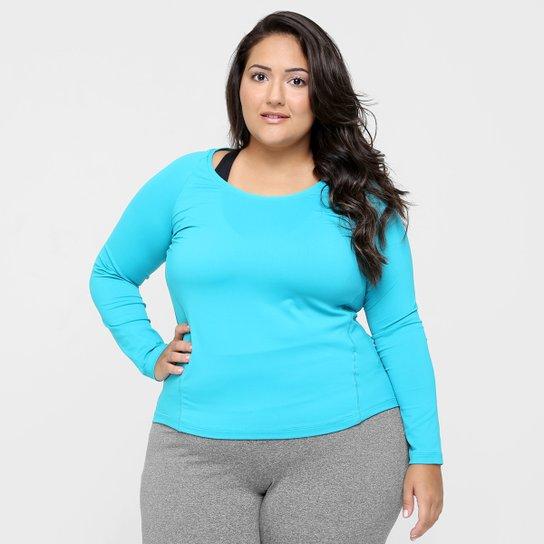 91b3a60e7 Camiseta Plus Size GONEW Manga Longa Feminina - Azul Claro - Compre ...