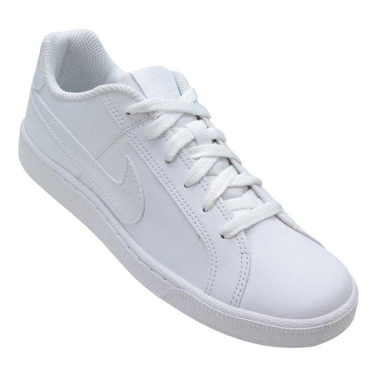 f10291021 Tênis Couro Nike Court Royale Feminino - Branco e Chumbo | Netshoes