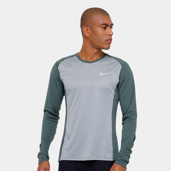 Camiseta Nike Dri-Fit Miler Manga Longa Masculina - Cinza - Compre ... 50aa431a42b77
