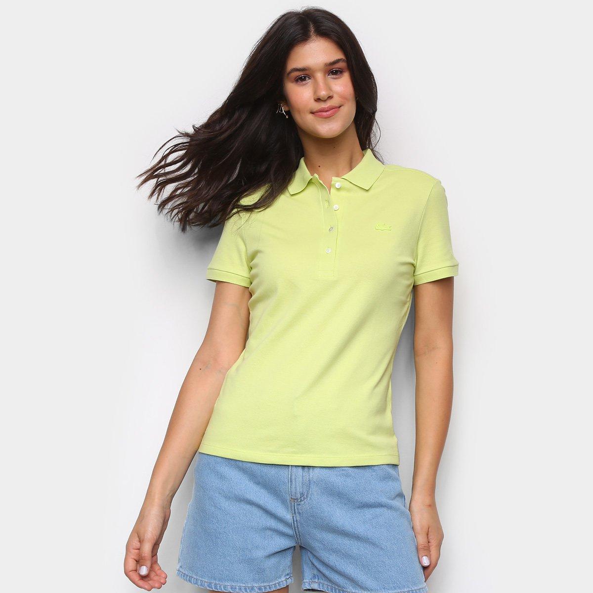 Camisa Polo Lacoste Básica Manga Curta Feminina