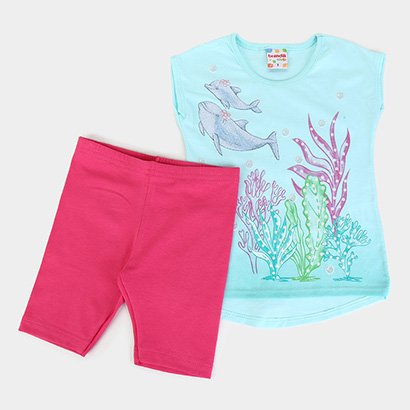 Conjunto Infantil Brandili Fundo Do Mar Feminino