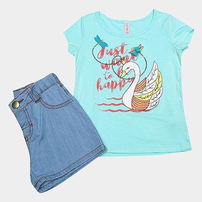 Conjunto de Blusa + Shorts Jeans Infantil Cativa Feminino